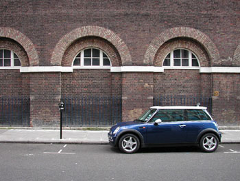The new Mini Cooper, on display in the Theatre District.